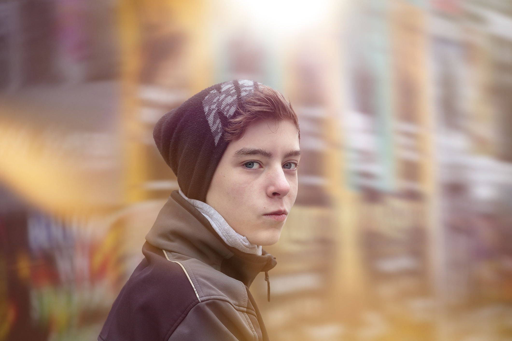 portrait of a teenage boy with winter clothes